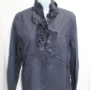 J. Crew cotton Ruffle Dress Shirt EXC Size 8